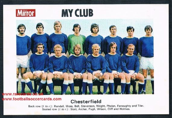 1970 My Club Daily Mirror postcard-size card Chesterfield